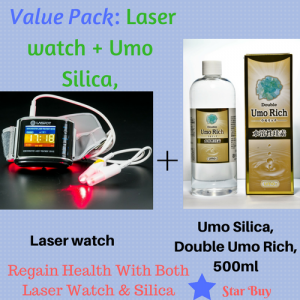 Lower Blood Pressure With Laser Watch Plus Double Umo Silica, 500ml, Value Pack