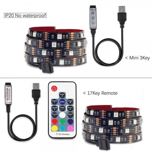 USB LED Light Strip 5050 DC5V RGB Flexible 1M 2M Adhesive Tape TV Background Lighting