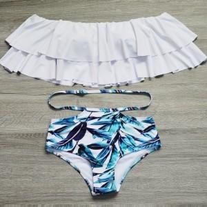 Swimsuit Striped Bottom High Waist Sexy Bikini Set Ruffle Vintage Bandeau