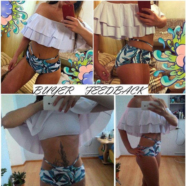 High Waist Sexy Swimsuit Striped Bottom Bikini Set Ruffle Vintage Bandeau