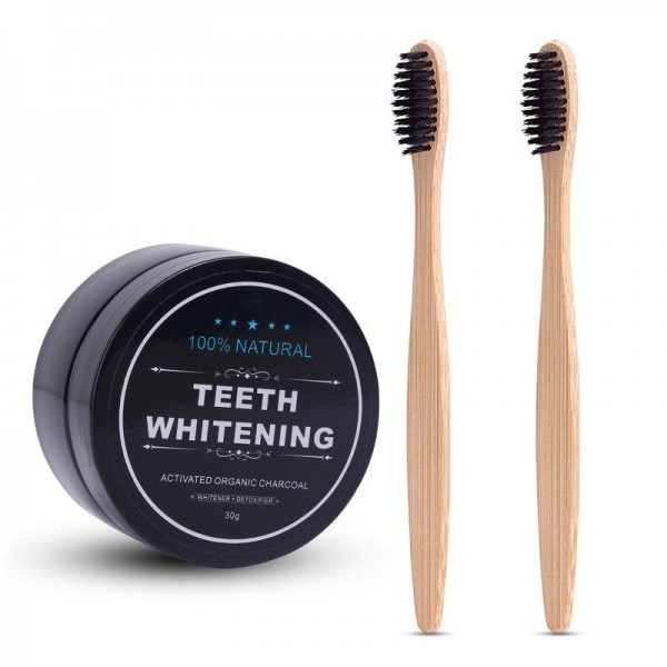 Teeth Whitening Powder Bamboo Toothbrush Charcoal Toothpaste