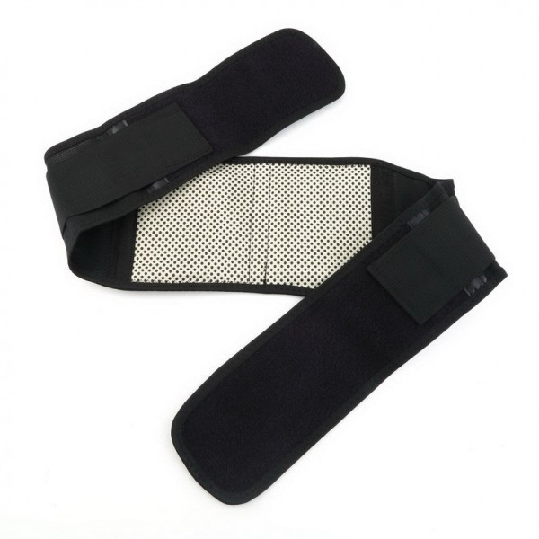 Self heating Magnetic Therapy Waist Belt : Adjustable Tourmaline Self heating Magnetic Therapy Waist Belt, Double Banded Lumbar Back Support Brace