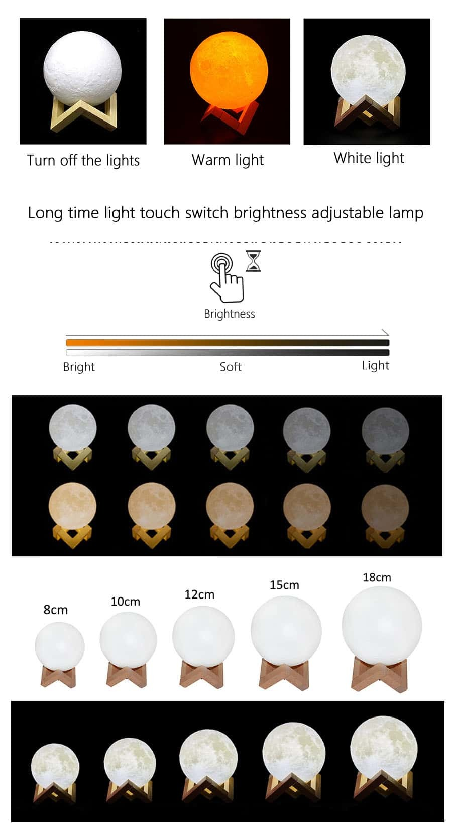 LED Bedroom Light Touch Switch 3D Print Novelty Home Decoration