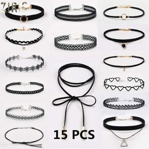 Choker necklaces black lace leather velvet strip women collar necklaces jewelry