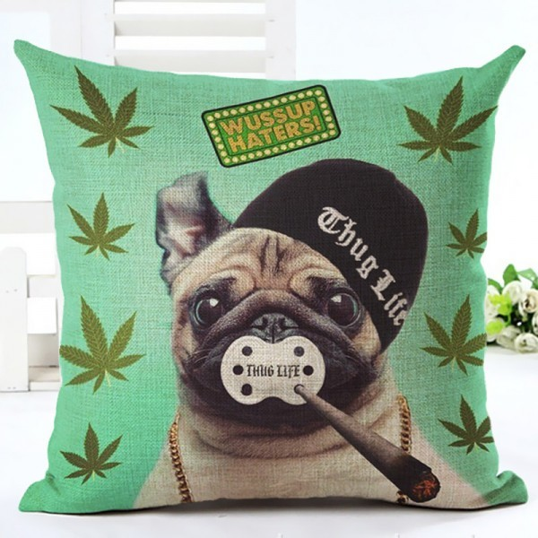 Cushion Covers Lovely Pug Home Decorative Sofa Cushion Pillow Case