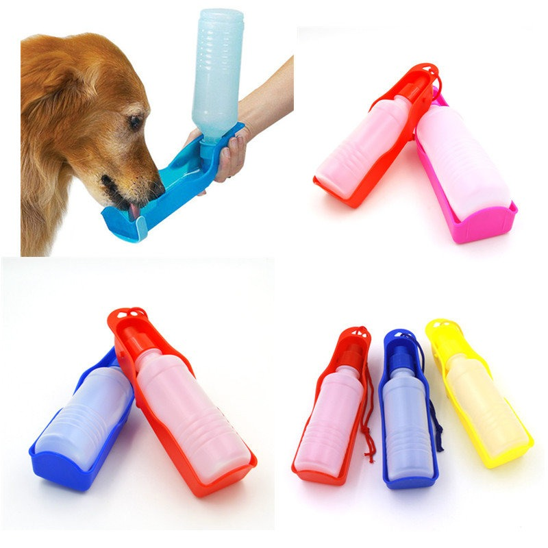 Foldable Plastic Dog Cat Drinking Water Feeder Outdoor: Dog Drinking Water Bottles 250ml Foldable Hand Held Water