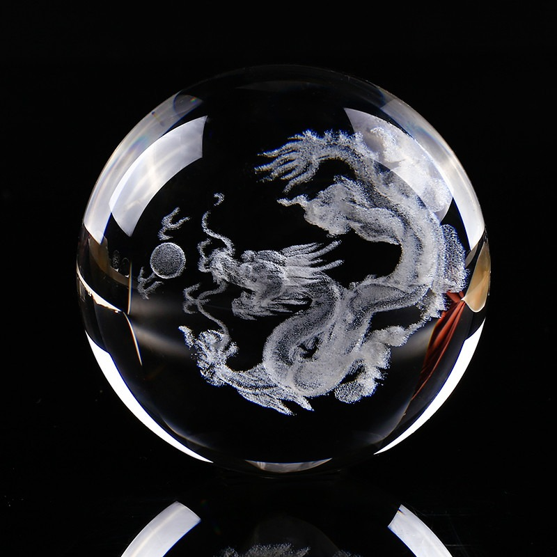 Feng Shui Crystal Ball 3D Laser Engraved Dragon Decoration