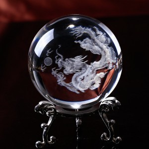 Feng Shui Crystal Ball 3D Laser Engraved Dragon Decoration Gifts