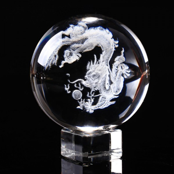 3D Laser Engraved Dragon Feng Shui Crystal Ball Decoration Gifts