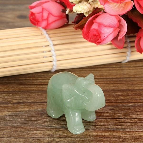 Feng Shui Figurine Hand Carved Green Aventurine Jade Stone Lucky Elephant