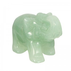 Jade Stone Feng Shui Figurine Hand Carved Green Aventurine Lucky Elephant