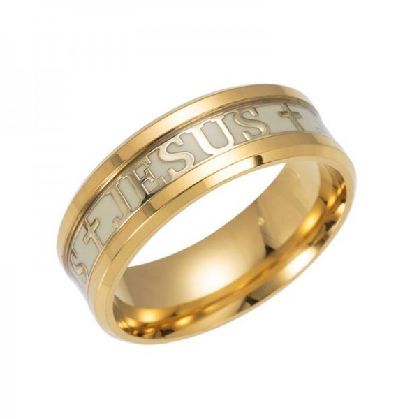 Jesus Cross Christian Rings Unisex Cross Rings Stainless Steel Luminous Glow In Dark Jewelry