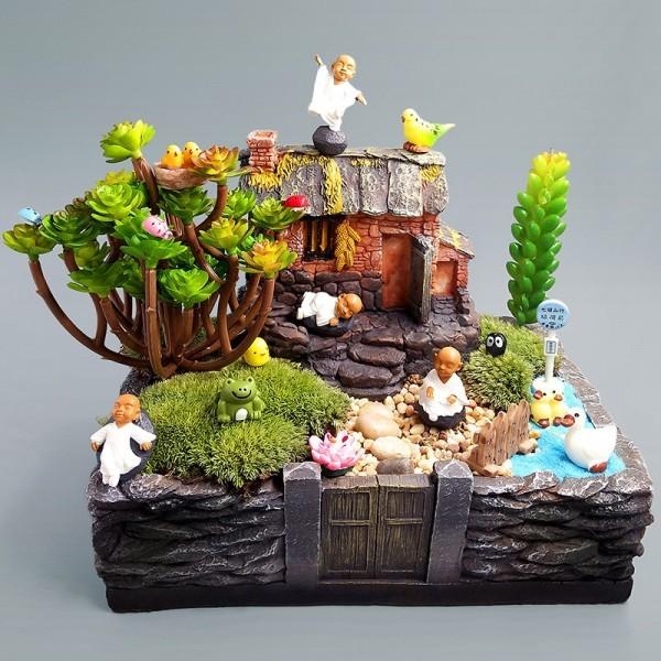 Monk Miniatures Feng shui wealth monks resin craft bonsai furniture figurine fairy