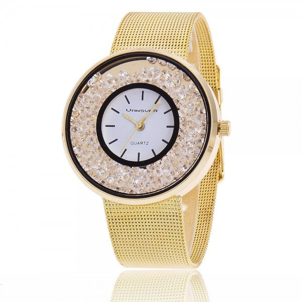 Rhinestones Watches Women's Golden Silver Band Quartz Stainless Steel Fashion