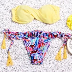 String Bikinis Swimwear Reversible High Neck Bikini Swimsuit