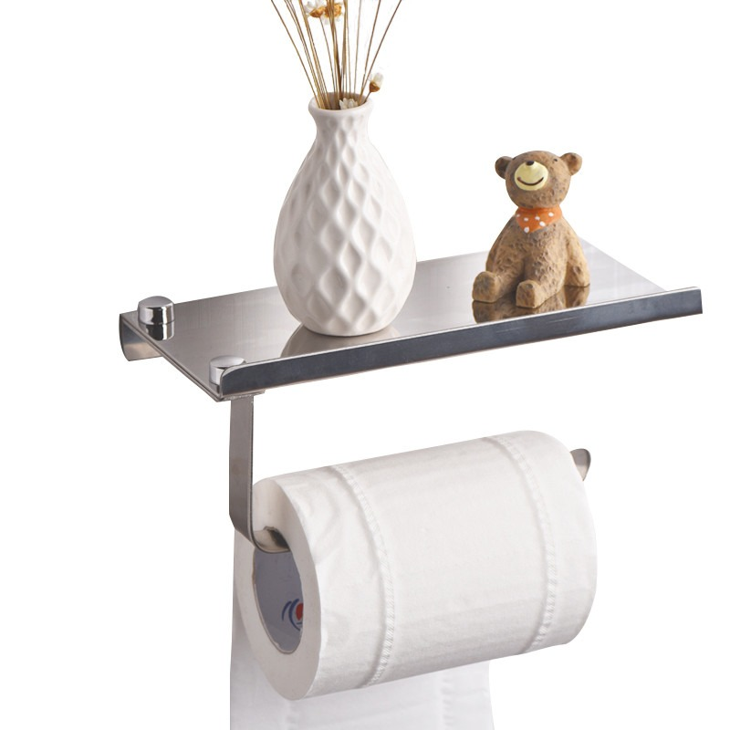 Toilet Roll Holder Stainless Steel Concise Wall Mounted With Shelf