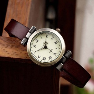 Watch leather strap women watch vintage fashion leather band Roma watches