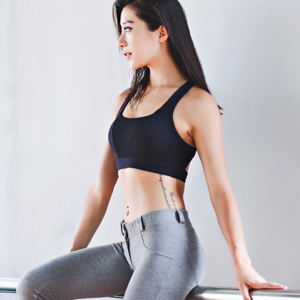 Yoga Bra Cross Design Push Up Shockproof Vest Shirt Tops