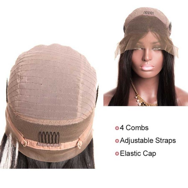 Human Hair Lace Front Wigs 150% Density 360 Lace Frontal Wigs Pre Plucked Straight Lace