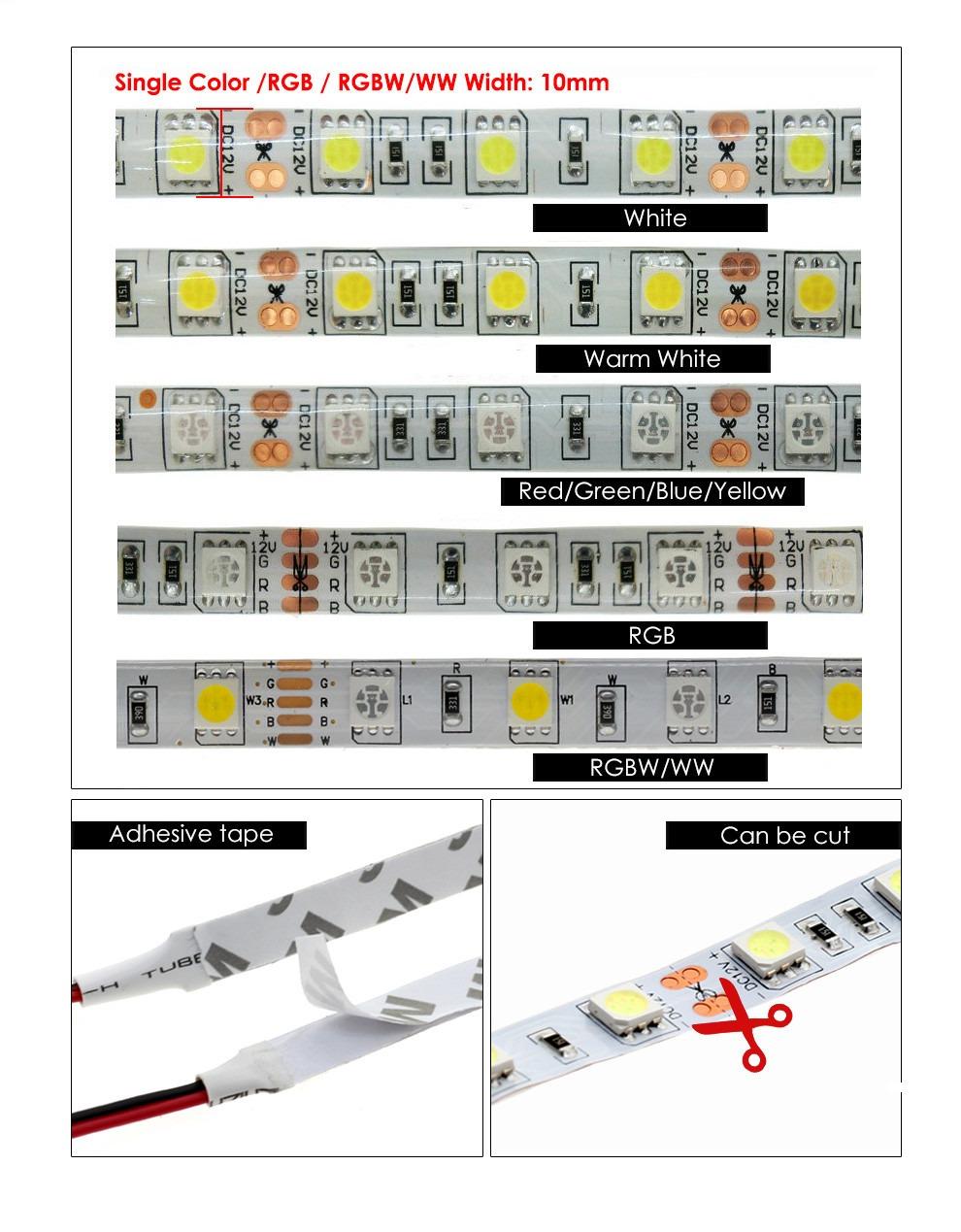 Led Strip Lights Flexible 5050 RGB RGBW DC12V 60 LEDs/m 5m/lot