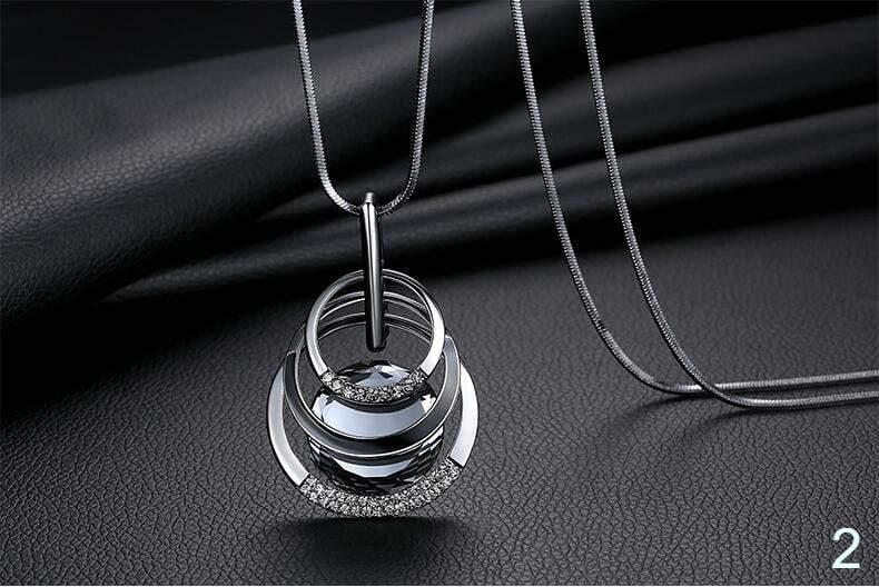 Bijoux vintage Necklaces Jewelry Big Crystal Enamel Long Pendant Multilevel Circle Geometric