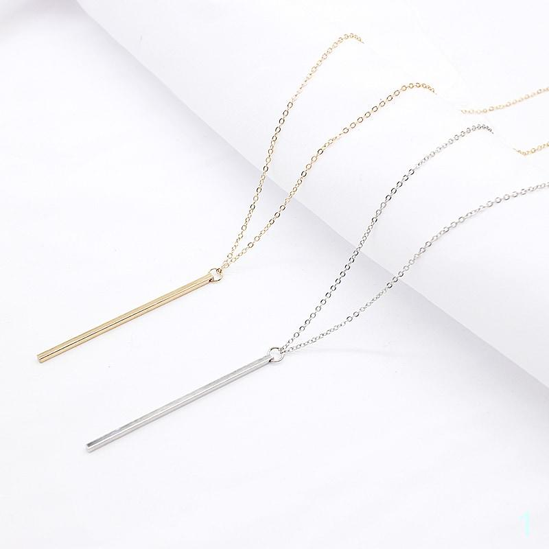 Pendant Necklace Gold Plated Square Copper Stick Long Chain Jewelry