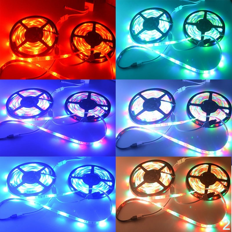 SMD RGB LED Light Strip 5050 2835 Flexible 10M 5M tape diode ribbon Controller Adapter set
