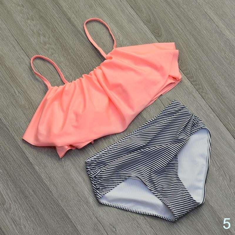 Bikini Swimwear High Waist Swimsuit Halter Retro Bathing Suits