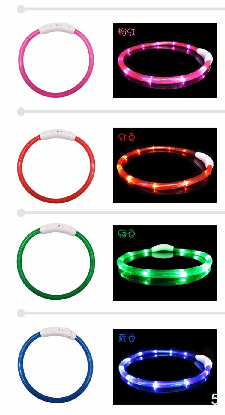 Pet Safe Collars LED Luminous Flashing Light USB Rechargeable