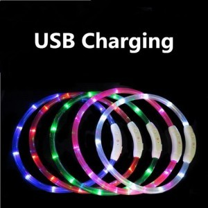Pet Safe Collars LED Luminous Flashing Light USB Rechargeable
