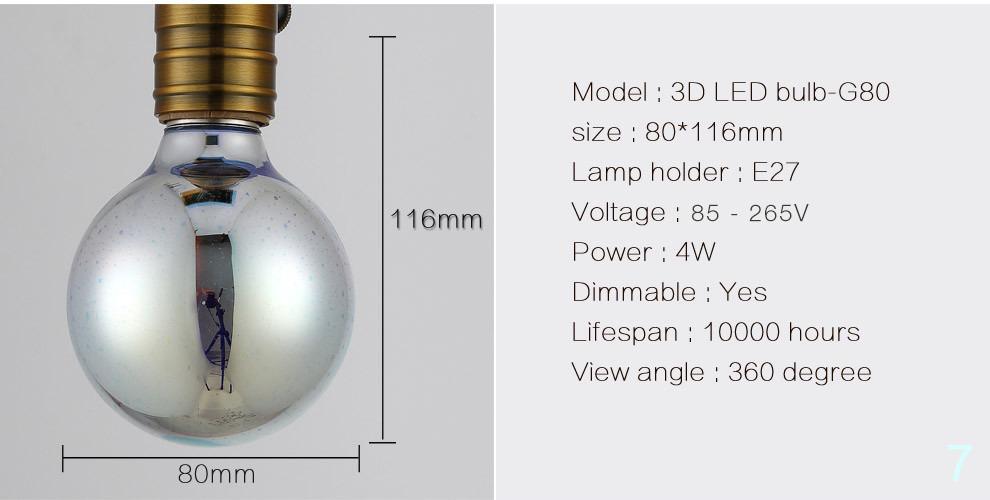 3D LED lamp novelty decoration light bulbs 110V 220V