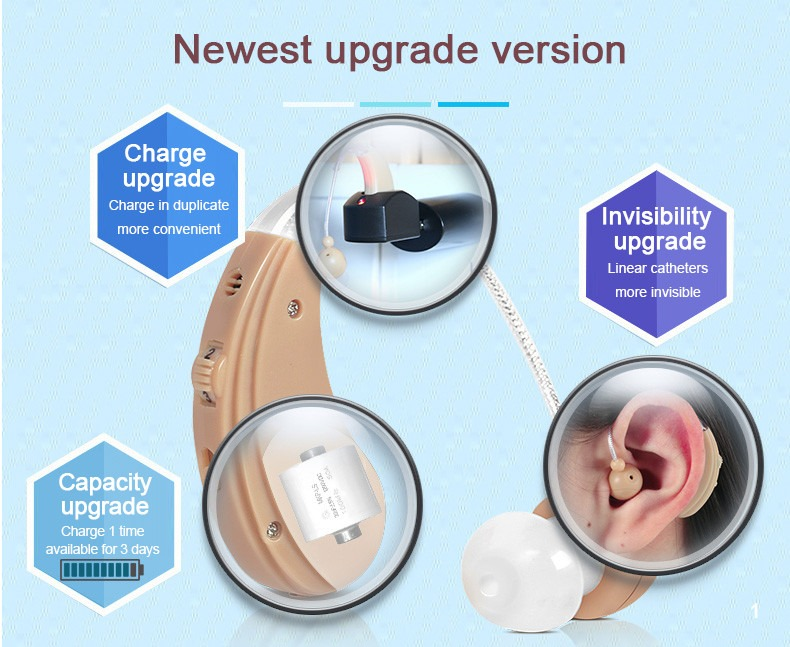 Hearing aid for elderly USB rechargeable adjustable sound amplifier 7g