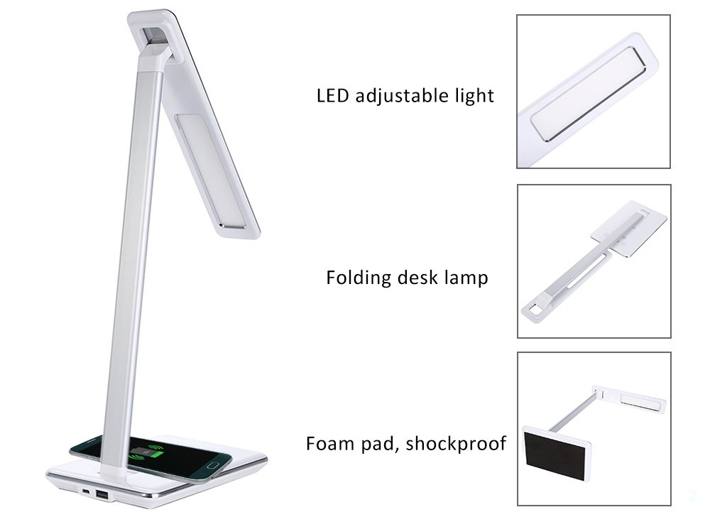 Desk light wireless charging foldable 4 light colors USB output