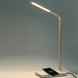 LED desk lamp wireless charging table lamp foldable 4 light colors USB output