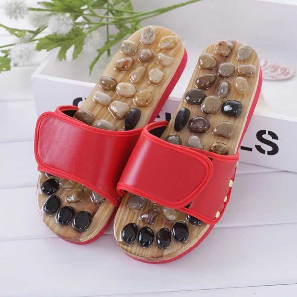 Massage slippers pebble stone elderly foot reflexology therapy