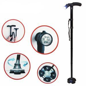 Walking stick cane foldable adjustable heights with LED for elderly