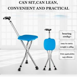 Walking stick elderly portable folding chair LED walker cane multi-function stool