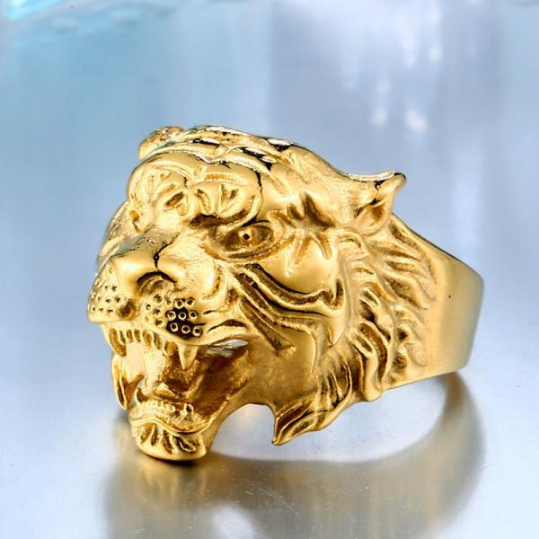 Tiger ring stainless steel titanium plated tiger head ring personality jewelry