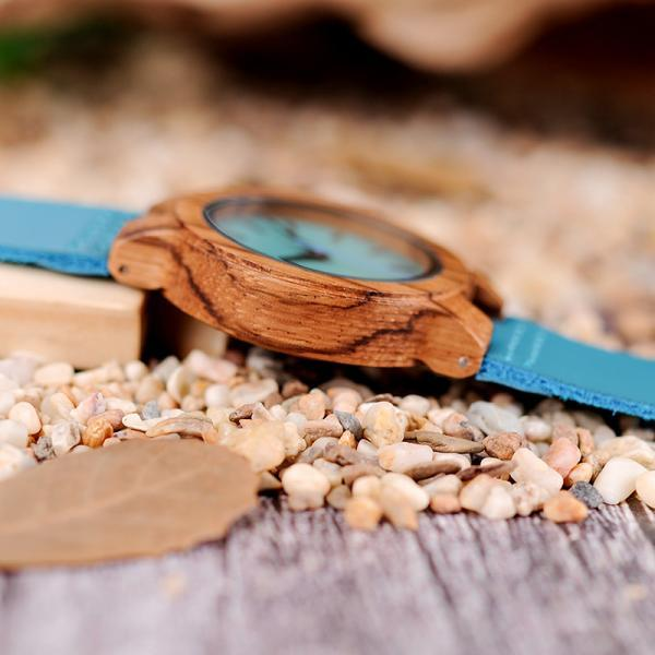 Wood watch for women men turquoise blue timepieces lovers pick