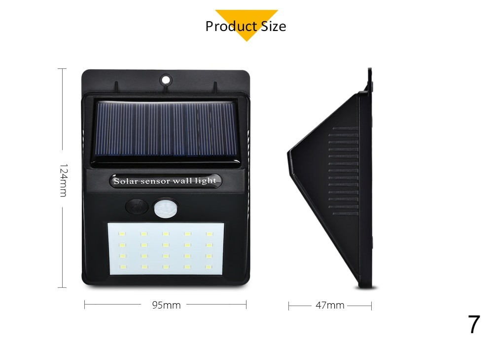 Dimensions of Solar sensor wall light