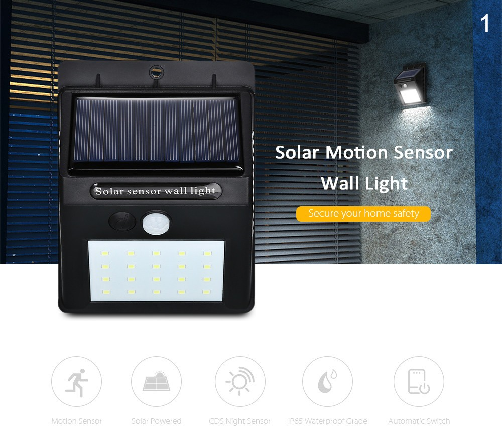 LED Solar Lights Motion Sensor Wall Mount Light Outdoor Waterproof