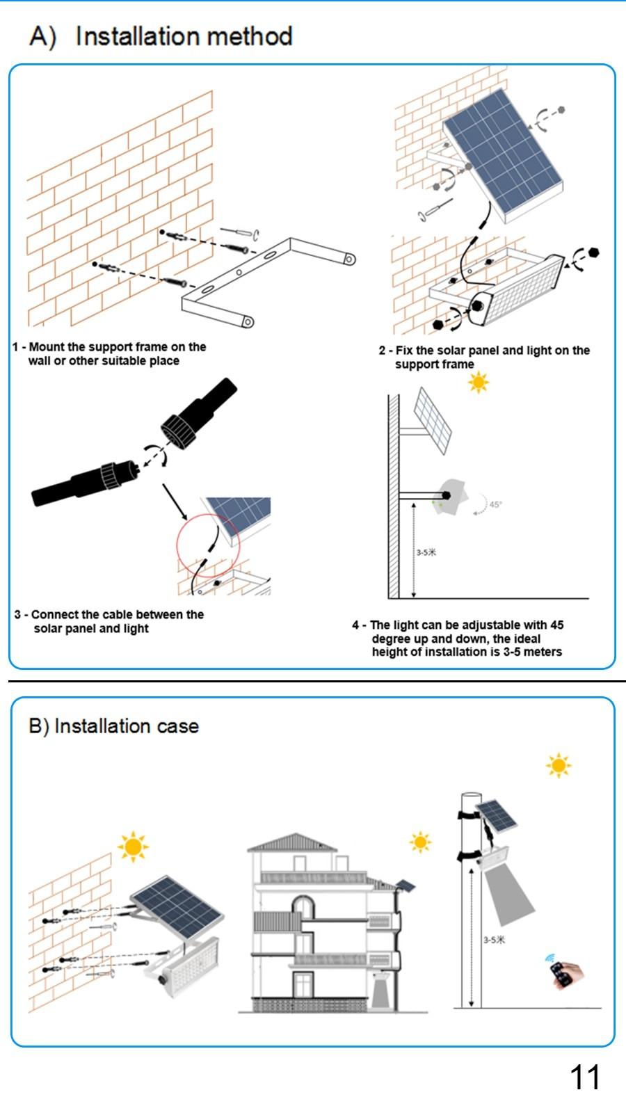 installation of solar light