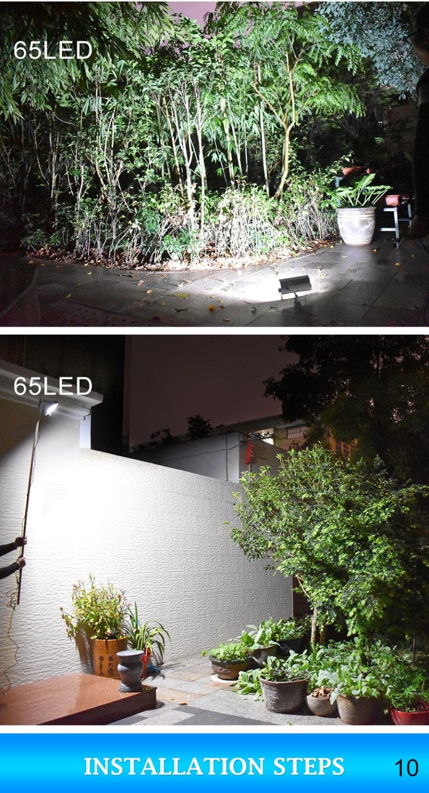 65 LEDs solar lamp