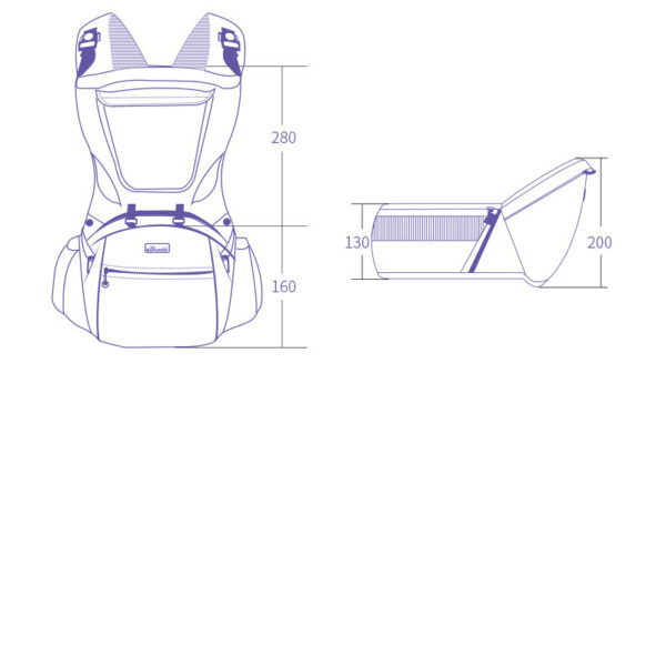 Dimensions of baby carrying bag with multifunction pockets and seat belt