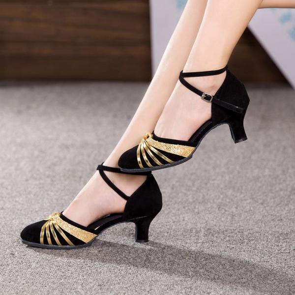 Ladies Modern Dance Shoes Heeled Closed Toe For Ballroom Dancing
