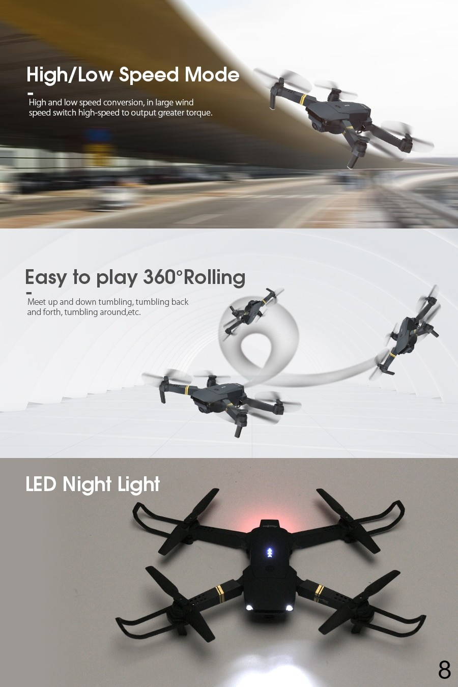 RC Quadcopter Drone Foldable with HD Camera 360 degree rolling
