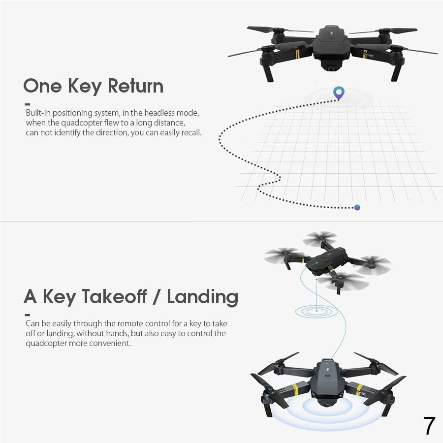 One key return RC Quadcopter Drone Foldable with HD Camera