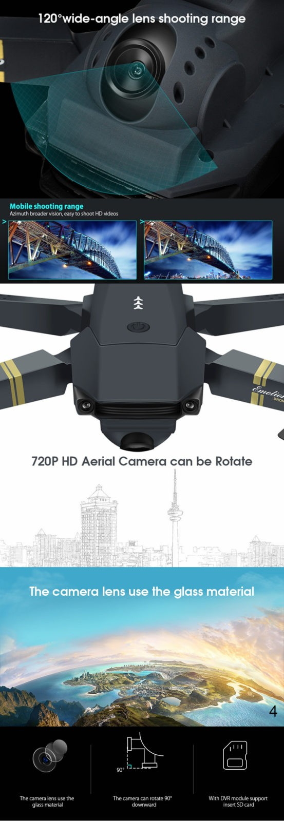 Wide angle lens Drone Foldable with HD Camera