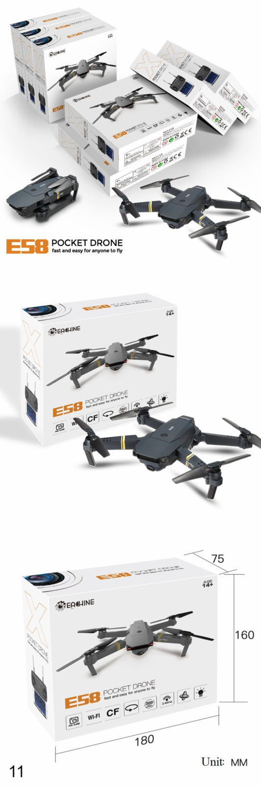 Package - RC Quadcopter Drone Foldable with HD Camera