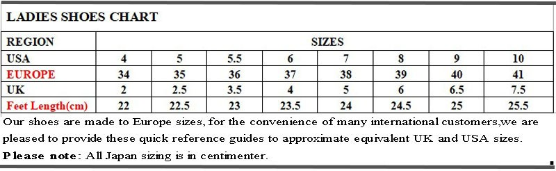 Size table -Women Ballroom Dance Shoes Standard Modern Dance